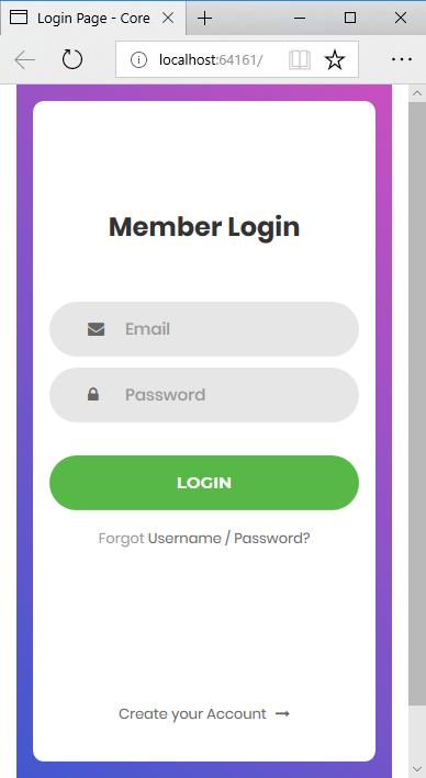 mobile member login screen