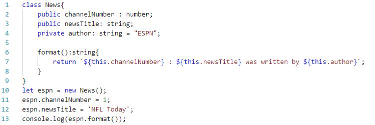 defining aclass in TypeScript: