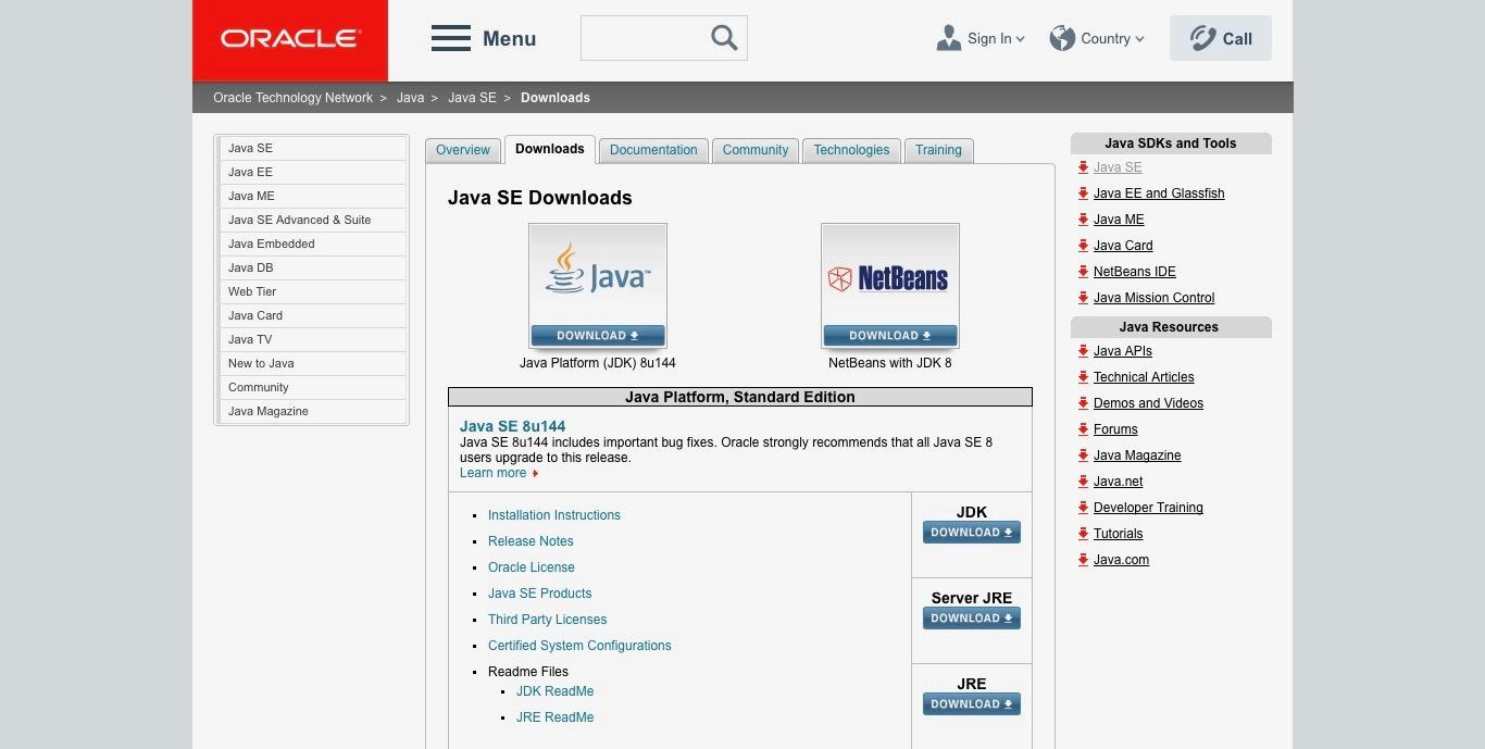 Java SE web page