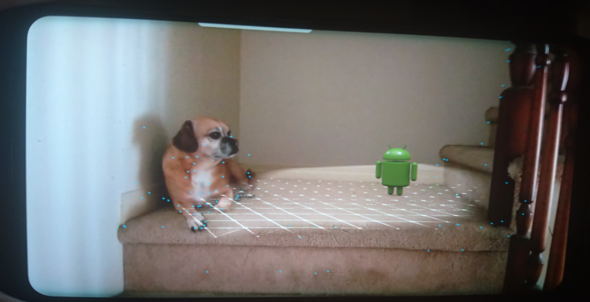Sample Android ARCore app running; the dog is real