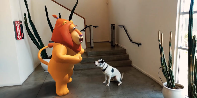 Google ARCore demo application; the dog is real