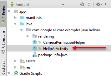 HelloArActivity shown in the Project window