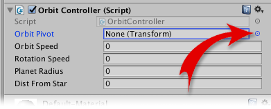 Selector Target in the OrbitController script
