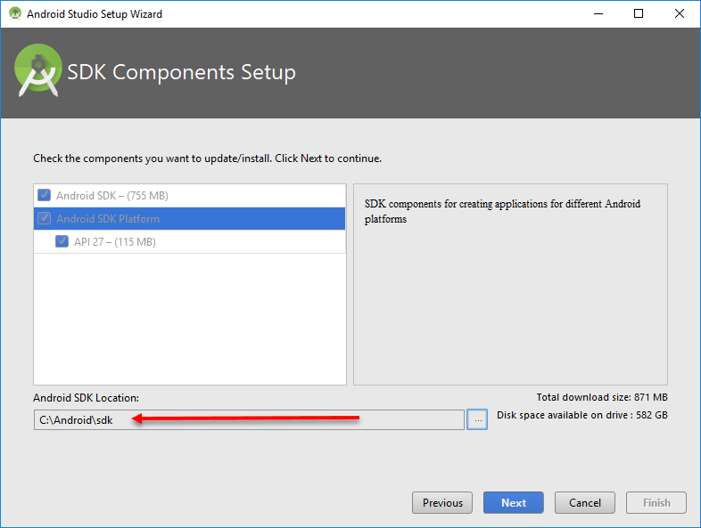 Setting the SDK installation path for Windows
