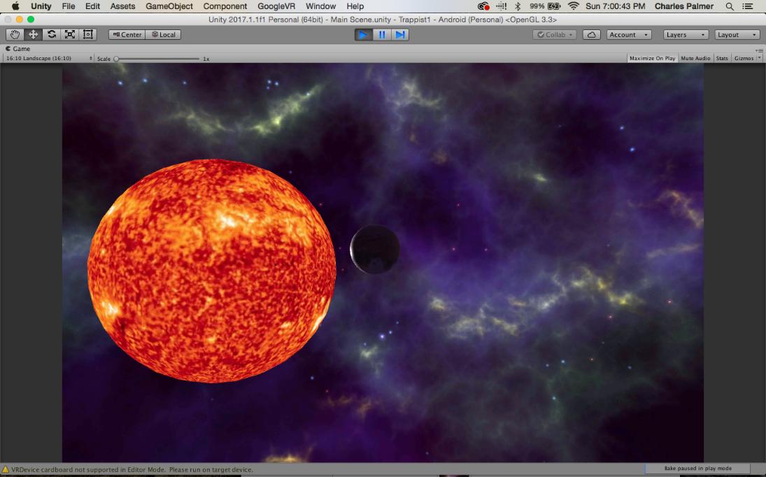 Virtual reality solar system in Unity on Google Cardboard