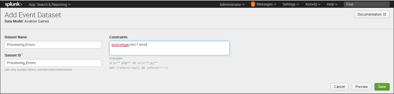 Create a data model in Splunk to enable interactive reports and