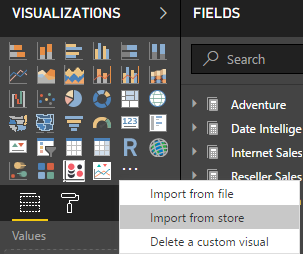 Importing custom visuals from the store