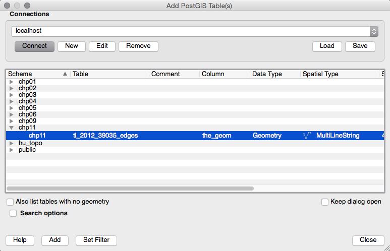 Add PostGIS table