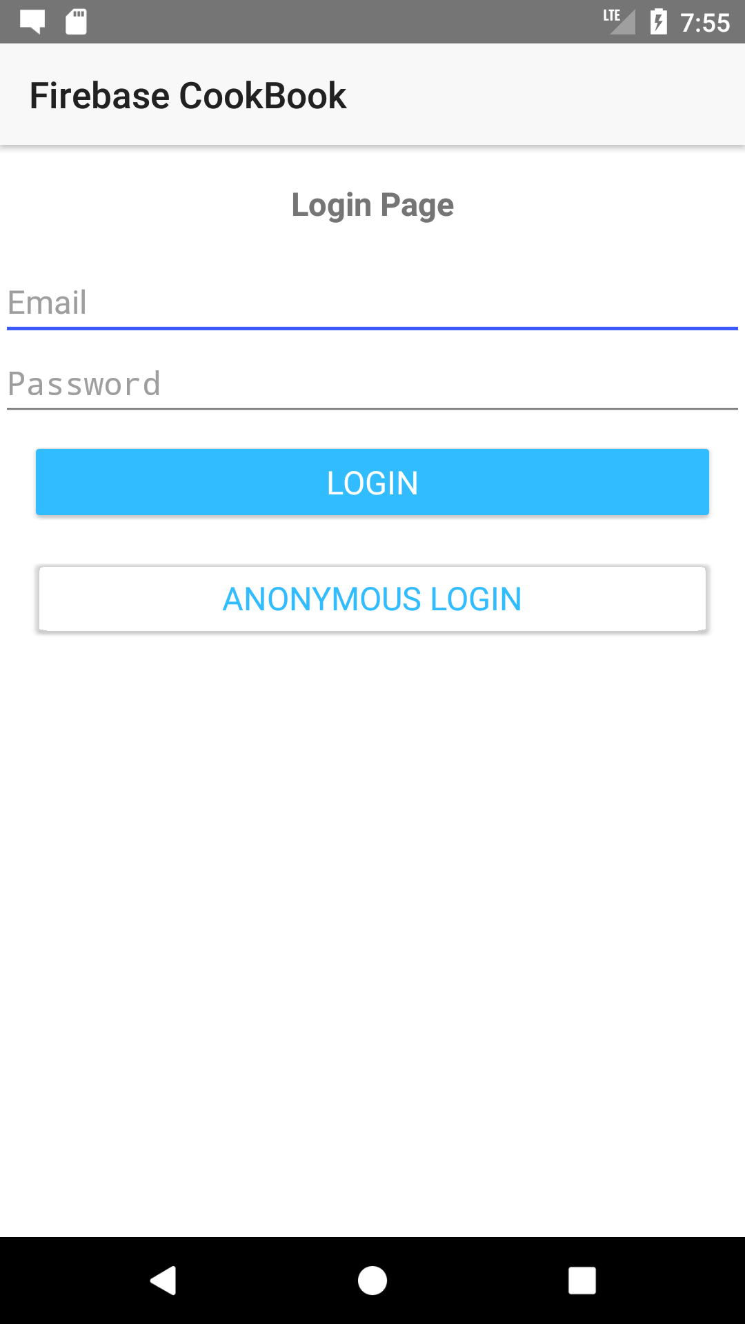 Application login page