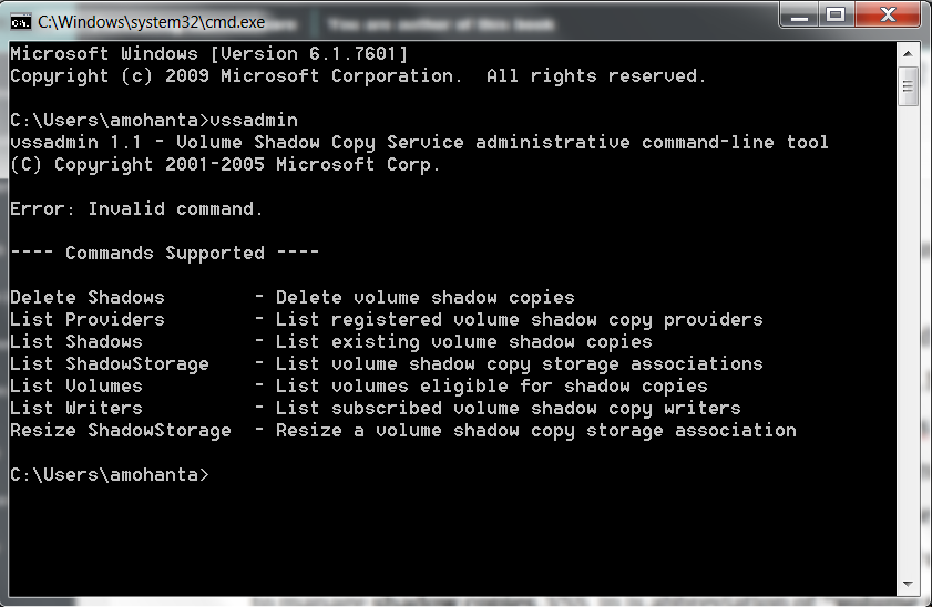 Fig. vssadmin tool command