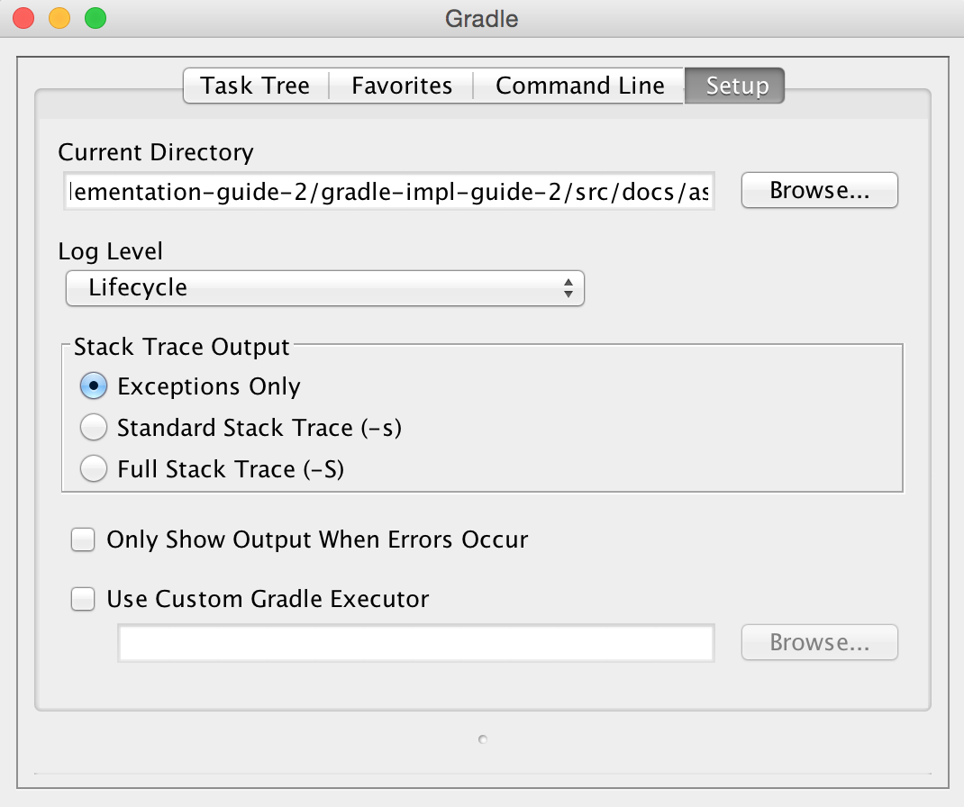 Setup Gradle options in the Gradle GUI