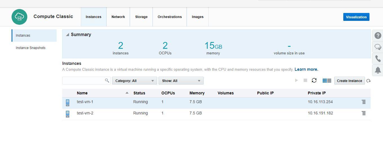 Oracle Cloud service platform