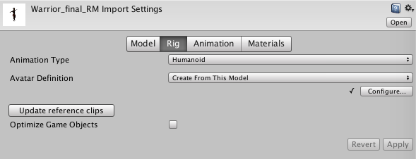 Creating interactive Unity character animations and avatars
