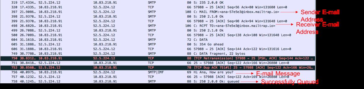 smtp will send a response code