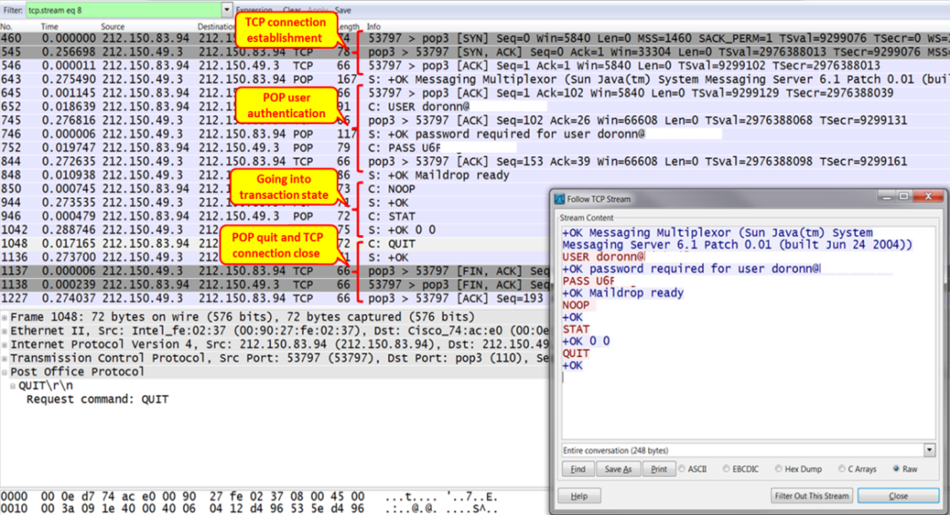 Wireshark for analyzing issues and malicious emails in POP