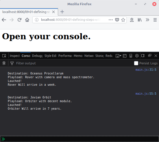 Open console
