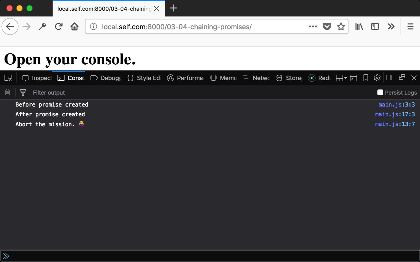 Open console