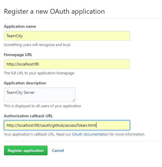 OAuth application