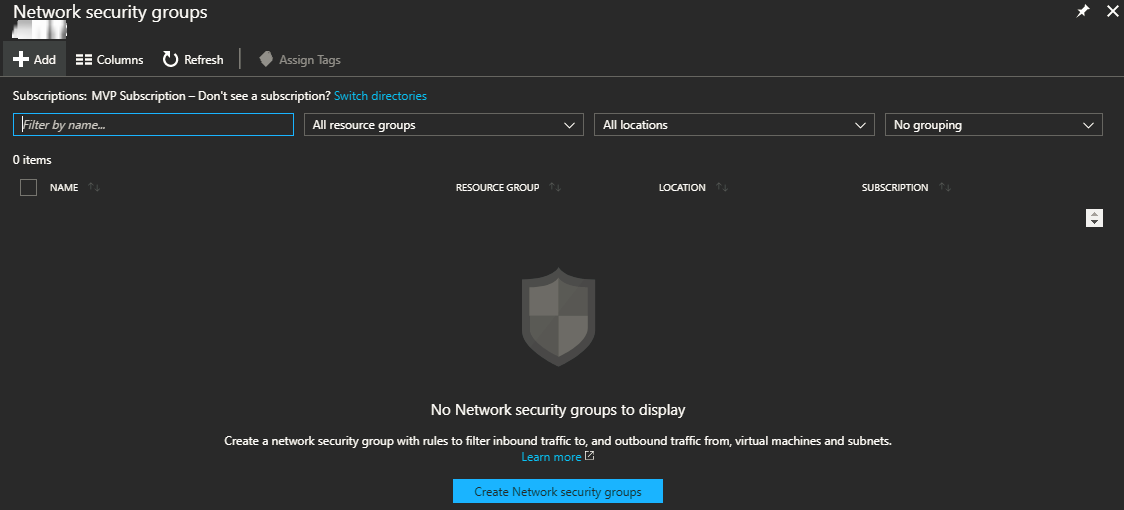 Network security groups blade
