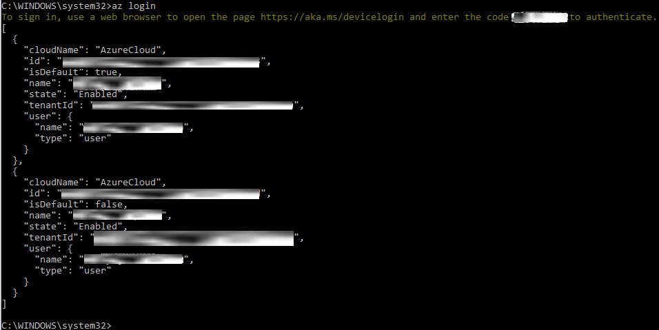 Figure 1.19: Logging in to Azure via Azure CLI 2.0