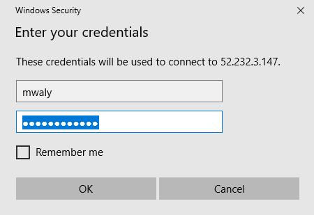Entering the VM credentials