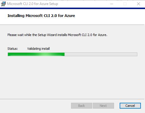 Figure 1.16: Installing Azure CLI 2.0