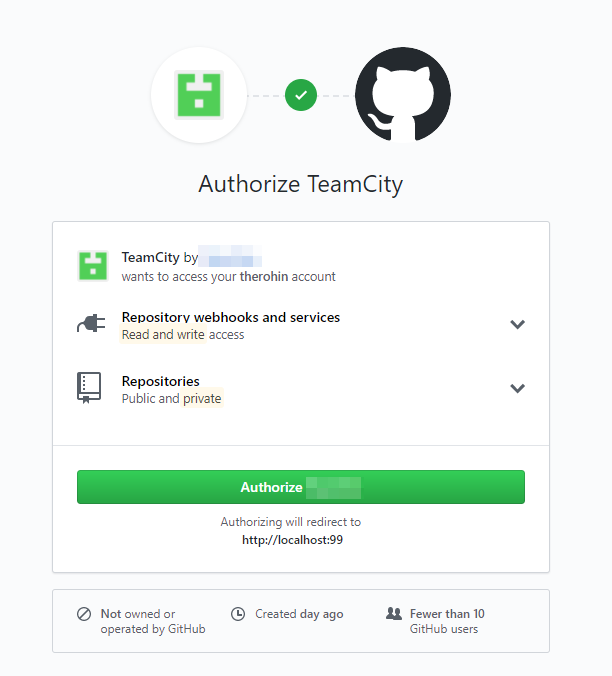 Authorize TeamCity App