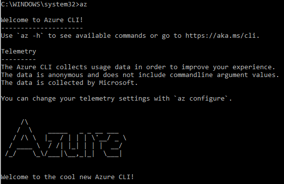 Figure 1.18: Opening the Azure CLI using CMD