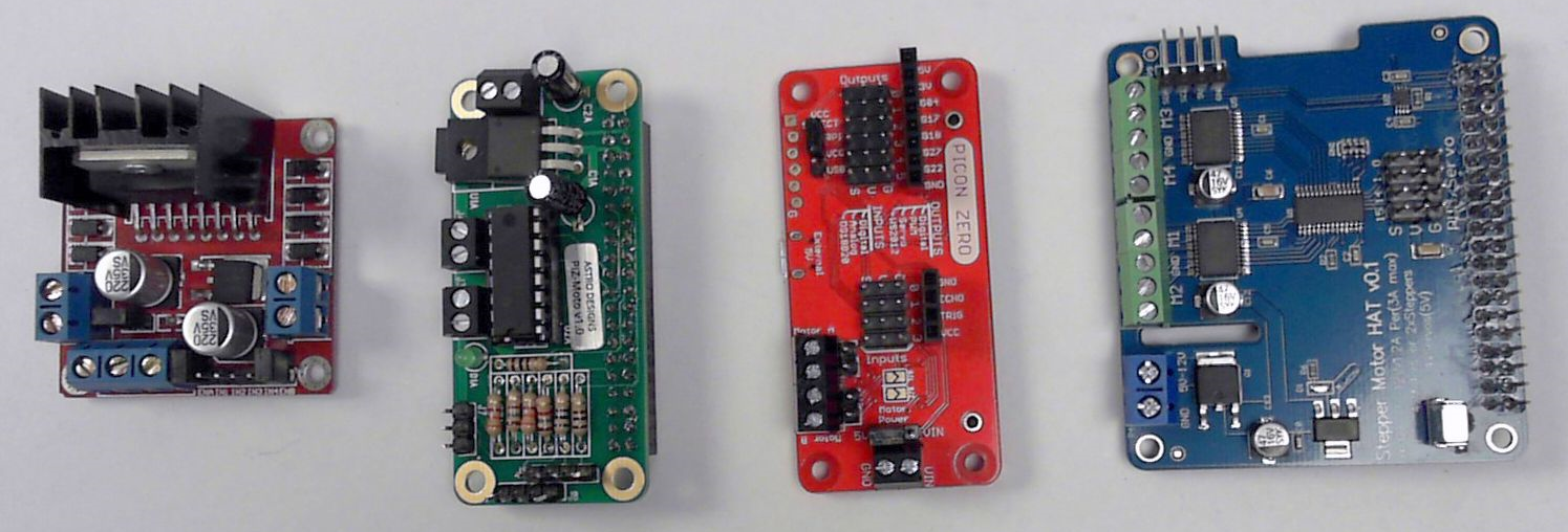 A selection of motor control boards: The L298, PiZMoto, PiConZero, and Full Function Stepper Hat